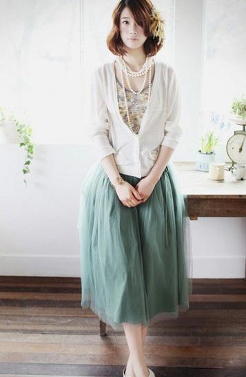 多层纱褶皱塔裙