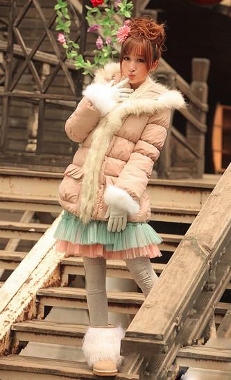 狐狸毛中长款棉衣