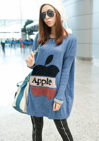 苹果图案宽松版毛衣
