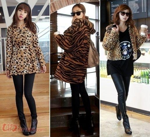 豹纹针织毛衫和包身裙,性感加可爱