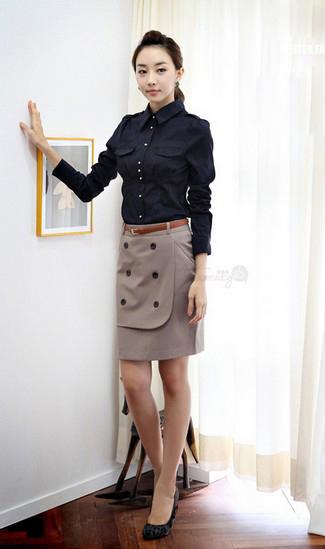 双排扣西装包臀裙