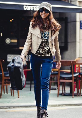新款韩版纯色皮革短外套
