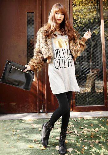 韩国时尚豹纹皮草外套