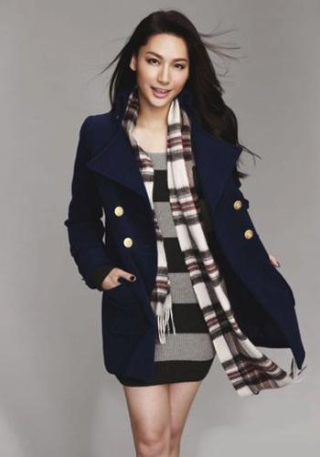 徐子珊藏蓝色毛呢大衣