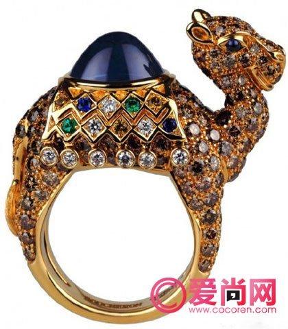 boucheron彩宝动物戒指