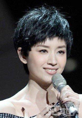 董洁亮相中央电视台2011年跨年演唱会,简约短发造型跟华丽的舞台有图片