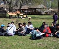 参与者在草地上午休