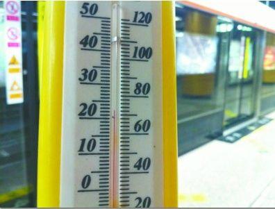 昨日下午4时10分许,本报记者在沈阳地铁二号线市图书馆站站台层测得温度约为22.5摄氏度。 记者 夏雪 摄