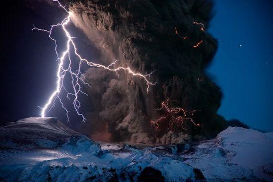 冰岛,火山闪电