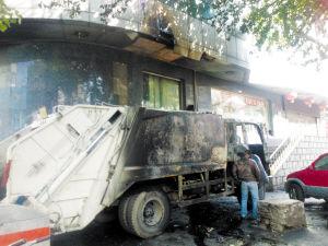 垃圾处理车自燃,联通大厅被迫暂停营业