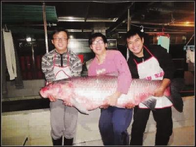三人抱鱼合影,右一为马俊 读者供图