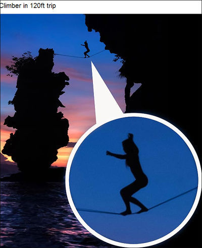 美国女子海莉·阿什本上演全裸高空走钢丝(网页截图)