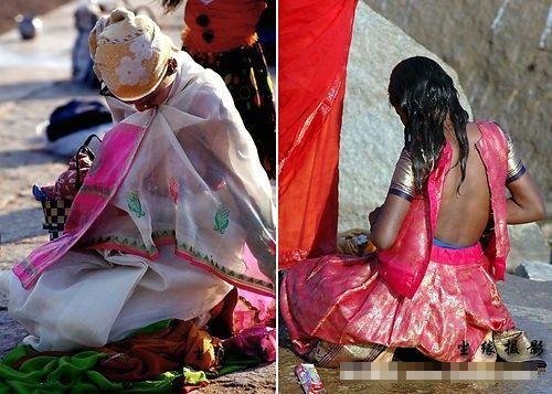 印度女人在外更换纱丽(点击更多高清美图)