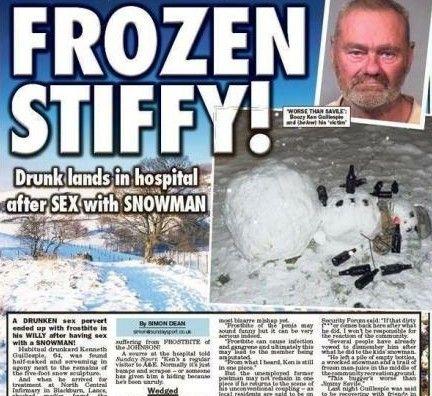 英国一六旬醉汉见雪人俊俏上前实施非礼 其下体被冻伤