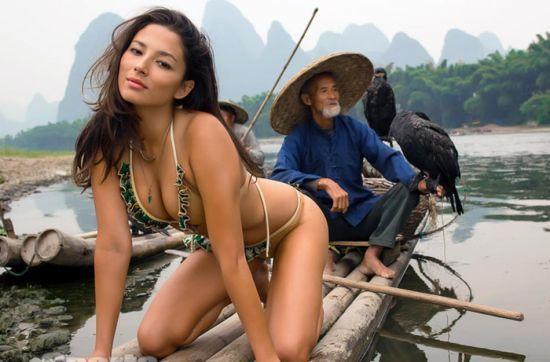 名模Jessica Gomes来到广西桂林拍摄写真。