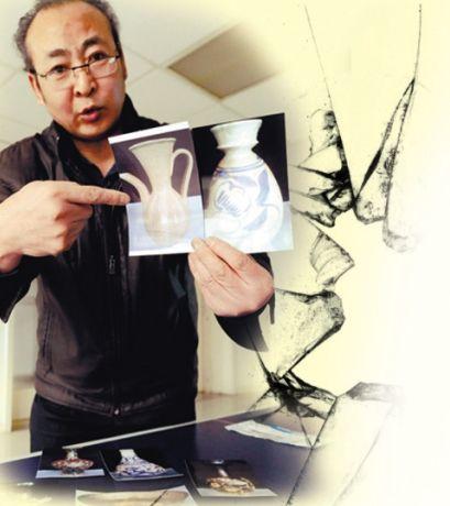 董先生向记者展示被运碎瓷器的图片