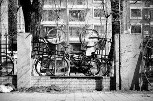 数十辆旧自行车上了墙,物业希望能借此封堵围墙漏洞。
