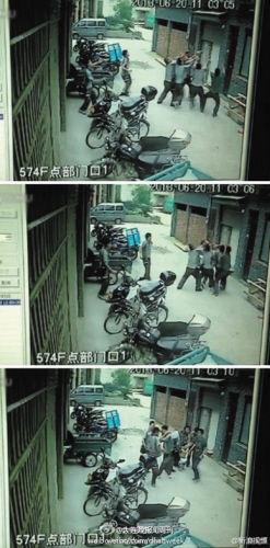 ▲监控录像记录下当时惊心动魄的一幕。