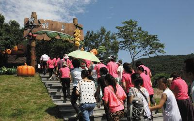 """在简单的开园仪式后,游客争相涌入""""猴岛""""。"""