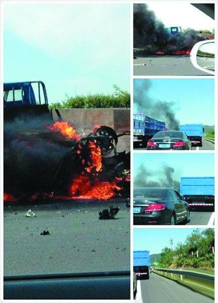 有路过现场的网友正好拍下了小轿车燃烧的一幕,并上传到微博。(图片来自微博)