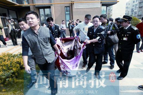 执法人员用床单将被击毙的藏獒抬走