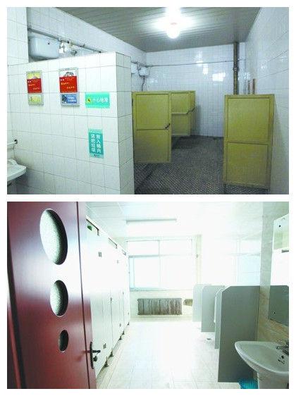 图书馆一楼、三楼和四楼破旧阴暗(上),而二楼五楼厕所则较新。记者 姜旭 摄