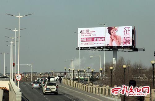 女子的征婚广告牌,到处都是,2014年2月10日,吉林市一女子征婚,大型广告牌很醒目。新文化网 王强 摄