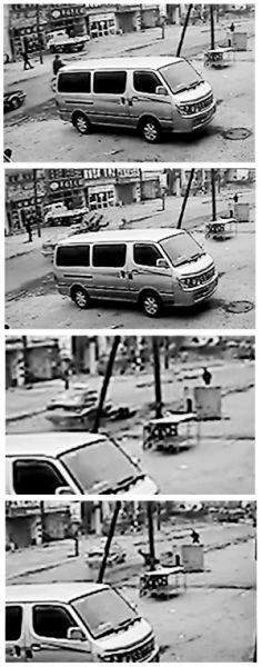 视频拍摄的出租车撞人过程。