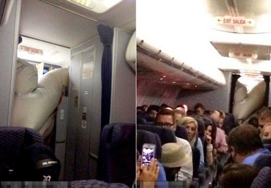美联航客机万米高空充气滑梯弹出。