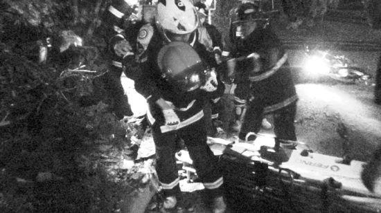 本市一起摩托车事故现场,消防人员抢救伤者