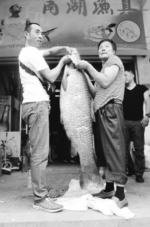 陈先生(右一)和朋友两人合力提起大鱼仍略显吃力