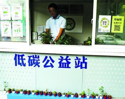 复旦生活区的低碳公益站内摆满了绿色植物 /晨报记者 陈征