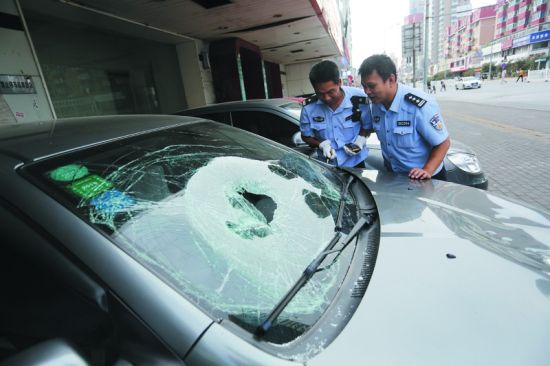 民警正在查看被砸的车辆。半岛晨报、海力网摄影记者孙振芳