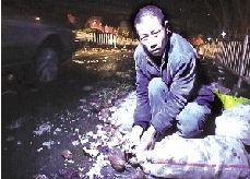 红薯撒出半车多,车主胡永辉脚掌受伤。