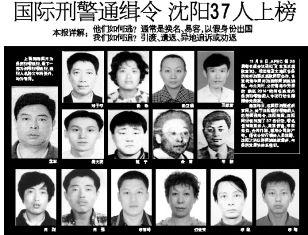 沈阳37人被国际刑警通缉 多数换名甚至整容(图)