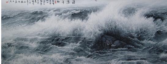 将大海作为水墨画语言表达自然和