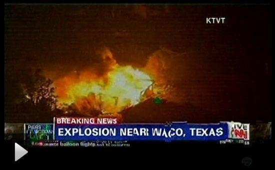 视频:美国得州化肥厂爆炸引发大火现场