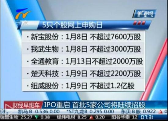 IPO正式开闸 5家公司将陆续招股